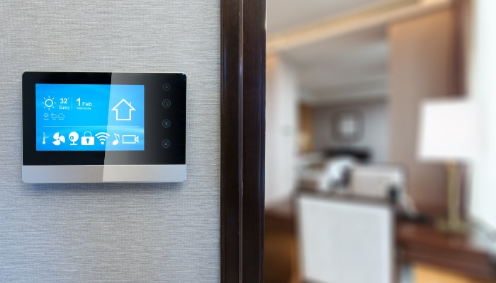 Thermostat On Wall With Digital Display